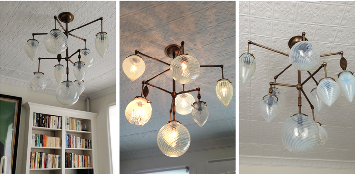 BRILLIANT 9 GLOBE FIXTURE WITH VINTAGE OPALESCENT GLASS AND VINTAGE BRASS ELEMENTS (ANTIQUE BRASS FINISH), 2013<br/>