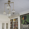 Michelle James NYC  <br/>MATERIALS:  brass, UL listed electrical components, 5 vintage glass globes, vintage brass elements<br/>