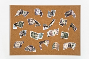 MiYoung Sohn Money color inkjet prints, numbered map pins, corkboard