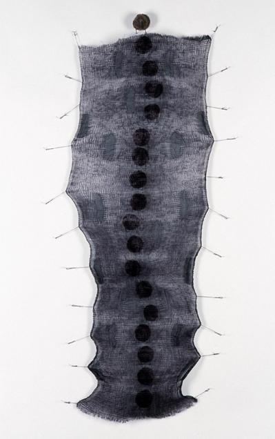 Mo Kelman Recent Work shibori dyed and shaped silk, black walnut hulls