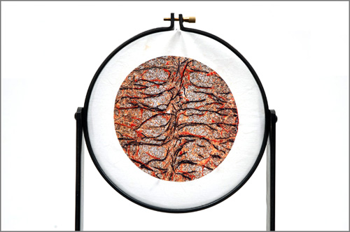 Smallworlds(cerebrum)  Embroidery, steel, print, fabric