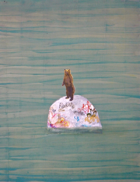 paintings wtf (bear on rock)