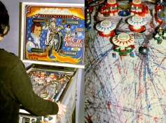 Rosemarie Fiore  Evel Knievel Pinball machine, oil on vellum
