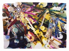"Rosemarie Fiore ""<b><i>Artificiere</b></i>"" Firework Drawings  2011 Lit firework residue on TS Saunders and Fabriano paper"