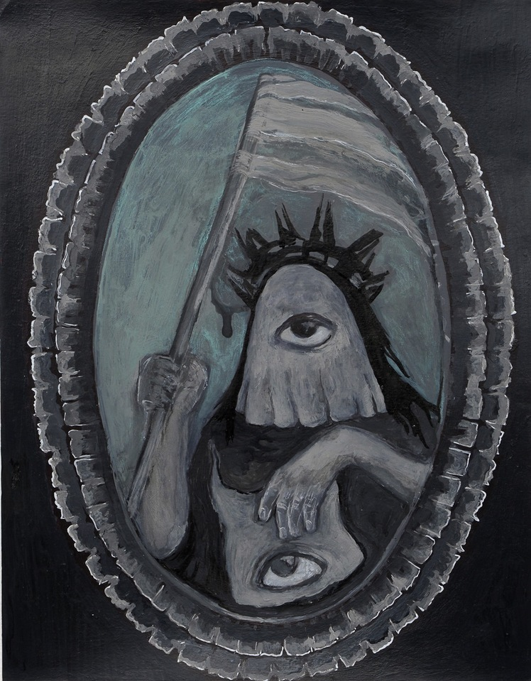 """A Mirror Has Two Faces"" paintings on paper 2009-2013 ""The Goddess of Freedom"""