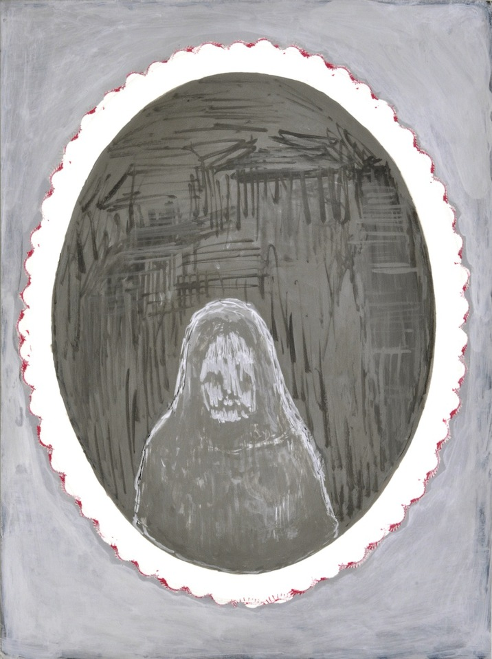 """A Mirror Has Two Faces"" paintings on paper 2009-2013 Death Mask, #1"
