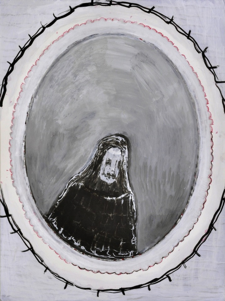 """A Mirror Has Two Faces"" paintings on paper 2009-2013 Death Mask, #2"