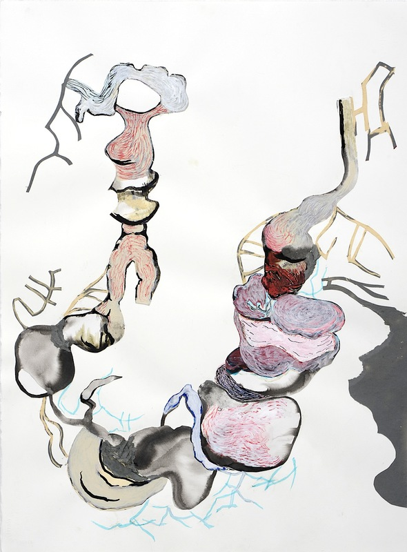 Tape Drawings (series) 2009-2014 acrylic, watercolor, ink, marker, tissue pape, constructionpaper, bleach and glue
