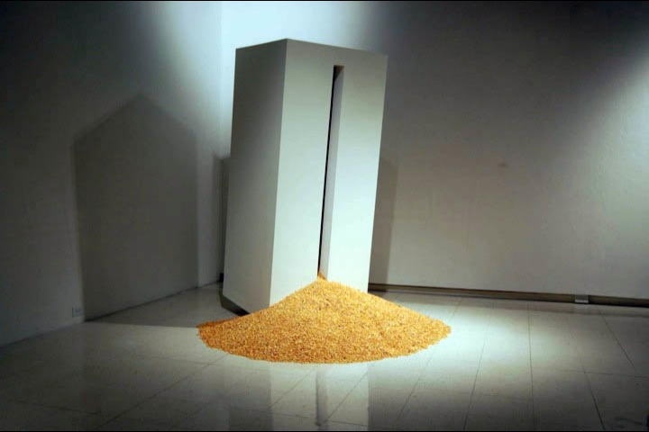 sam blanchard Corn SPMG (Silo, Pedistal, Mini-Gallery) Wood, Plaster, Corn