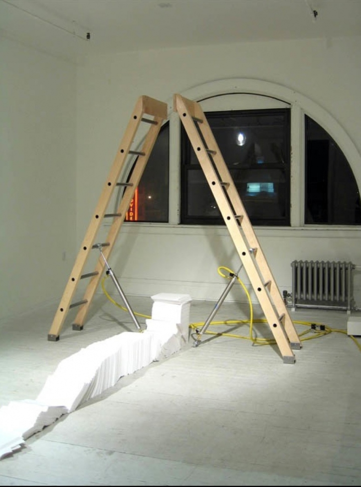 sam blanchard Bookend Ladders Wood, Steel, Pnuematics, Paper