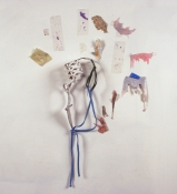 Sara Hubbs 2009 my shoes, bathing suit strap, thread, paper, clear tape, and acrylic paint