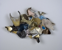 Sara Hubbs 2009 discarded shoe insoles, thread, hardware, adhesive