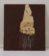 Sara Hubbs AS IS industrial wax, heat, spray paint on wood