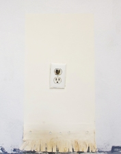 Sara Hubbs VERMONT INSTALL western fringe, joint compound, paint, & burned out electrical outlet