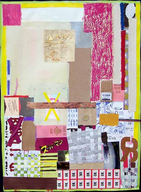 Shari Schemmel pink dream / pink nightmare mixed media collage on paper