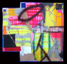 Shari Schemmel pieced paper mixed media collage on pieced paper
