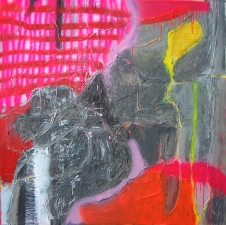 Shari Schemmel feeling florescent mixed media collage on canvas
