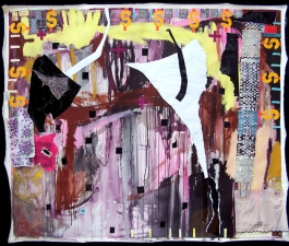Shari Schemmel pink dream / pink nightmare mixed media collage on unstretched canvas