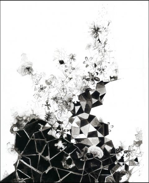 Steven Bindernagel Works on paper acrylic ink on yupo paper
