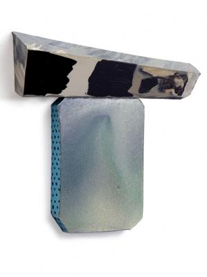Tamara Zahaykevich Qi Crest, foam core, paper, spray paint, acrylic paint, glue