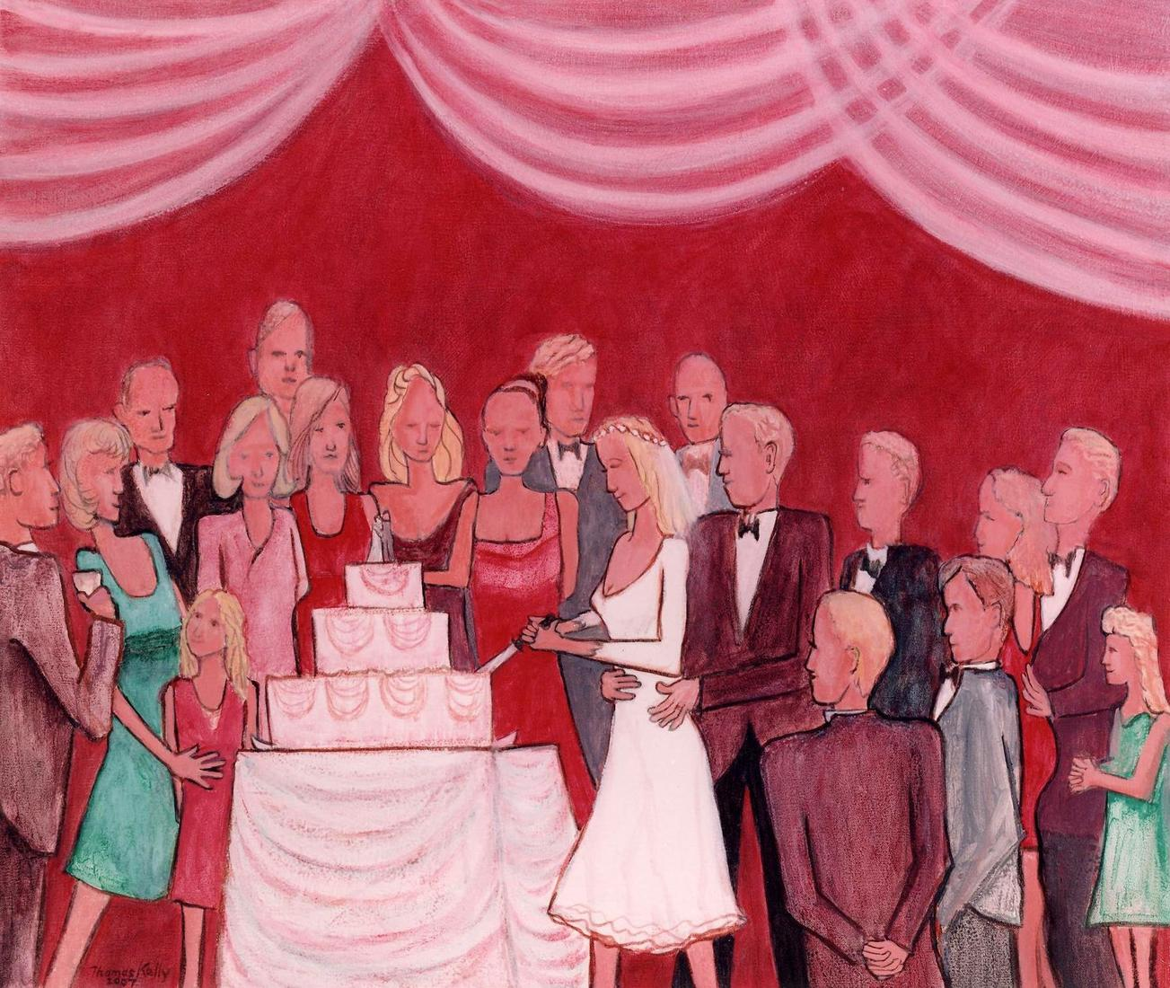 Commissioned Paintings Bride Cuts the Cake