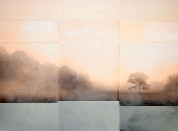 Tom Brydelsky landscapes Encaustic and collage on wood.