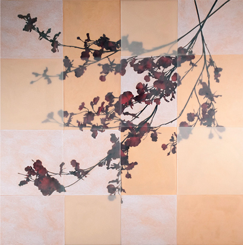 Tom Brydelsky florals Oil, encaustic and collage on wood.