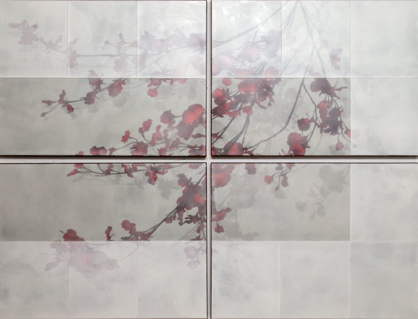 Tom Brydelsky florals Encaustic and collage on wood