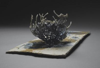 Tomoko Amaki Abe Ceramic Works 1 cotton, low fire clay, glazes, oxides, resin
