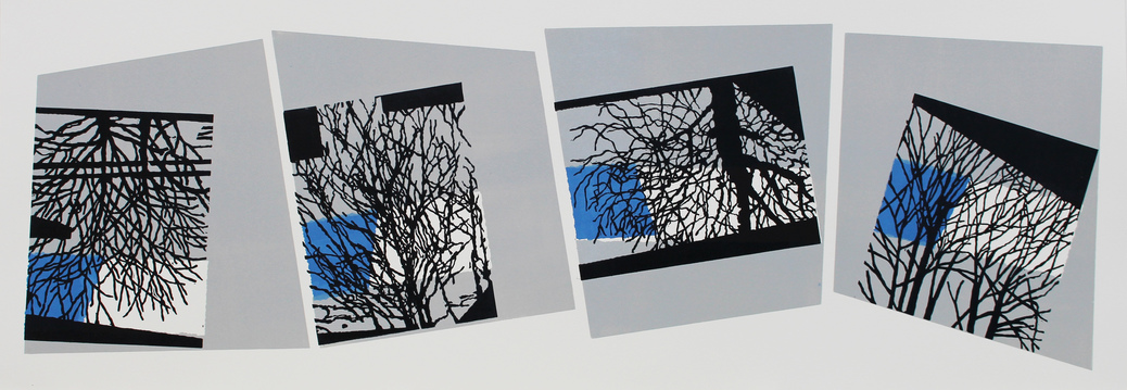 Andrew Carter - Artist & Printmaker Reflected Shapes 3 colour linocut