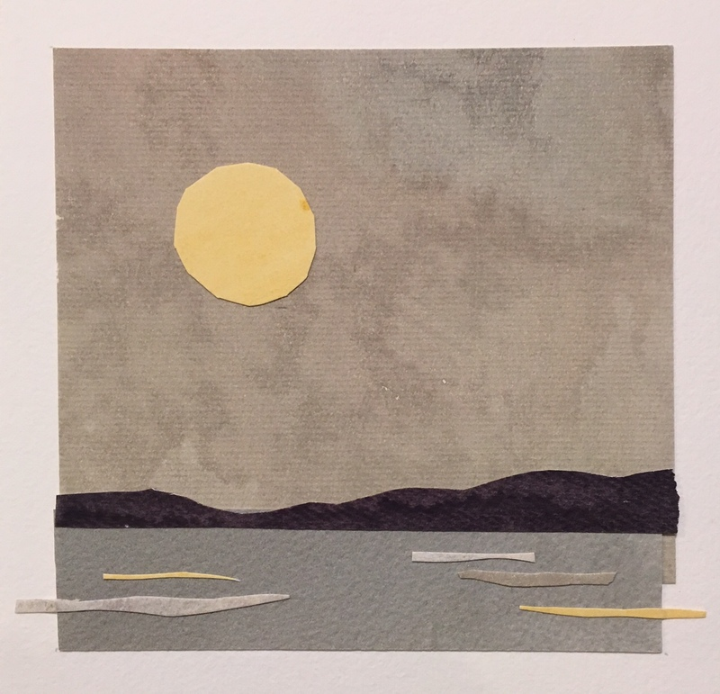 Anne Coffey Moonlight Swim Series painted paper collage