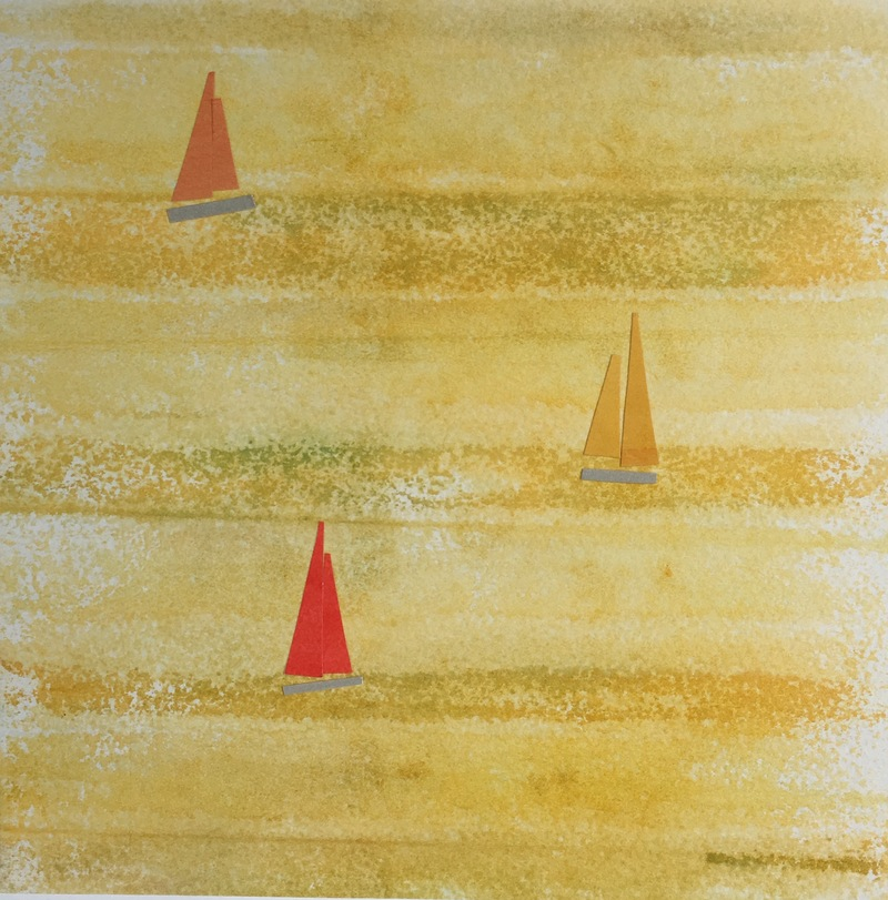 Anne Coffey Sailboat Series hand-painted-paper collage