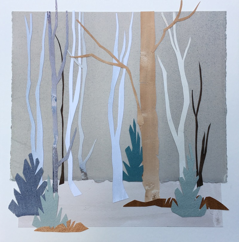 Anne Coffey Winter Landscapes 2017-2018 hand-painted-paper collage