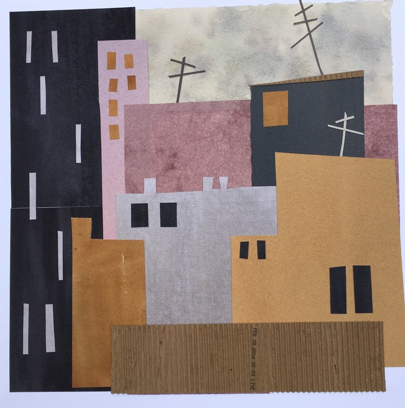 Anne Coffey Cityscapes: Real and Invented collage: hand-painted papers, found papers