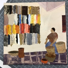 Anne Coffey Oaxaca, Mexico painted paper collage, found papers