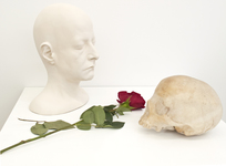 Arlene Rush Heads Resin, fiberglass, plaster, gauze, acrylic, hydrocal and a rose
