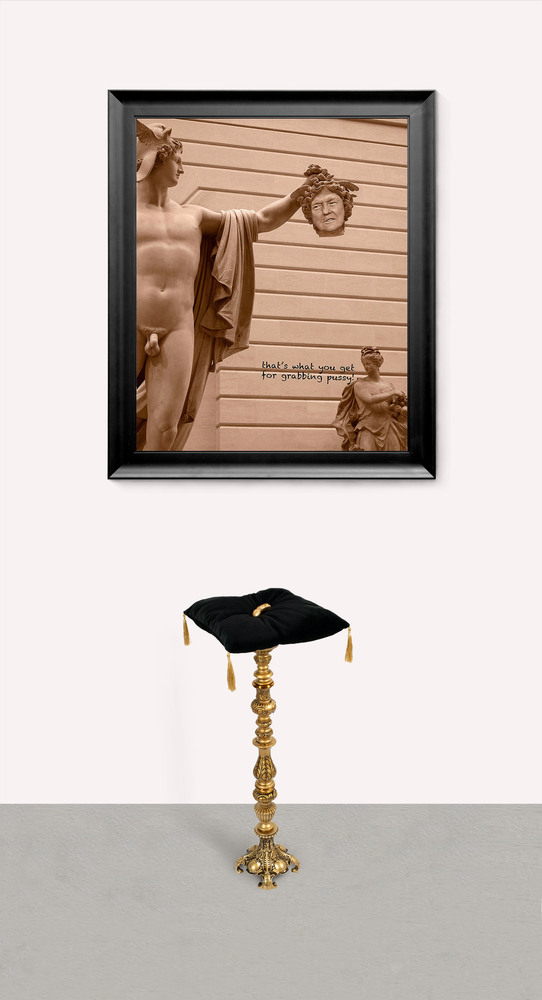 Arlene Rush Current Affairs Digital archival print (Framed), metal, wood, metal gold leaf, velvet fabric, tassels, plaster, polyurethane, brass
