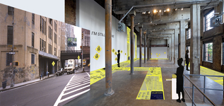 Arlene Rush • Evidence Of Being Interactive installation; Digital print on vinyl