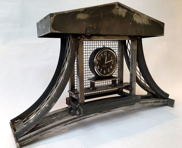 Bruce Rosensweet FURNITURE Welded steel, steel and aluminum wire, clock