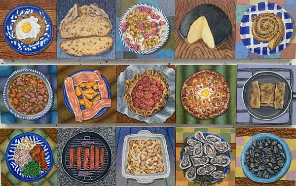 GLENN BRILL Food Acrylic on Wood Panel