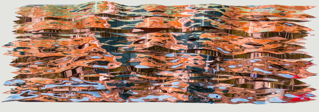 JoAnne Dumas Wall Reliefs pigment print, pearl, rice, and copper substrates, panel