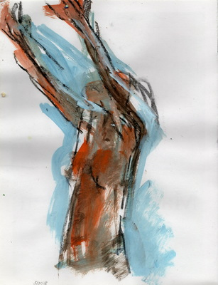 Martha Hayden New Figure Studies acrylic and charcoal on paper, unframed