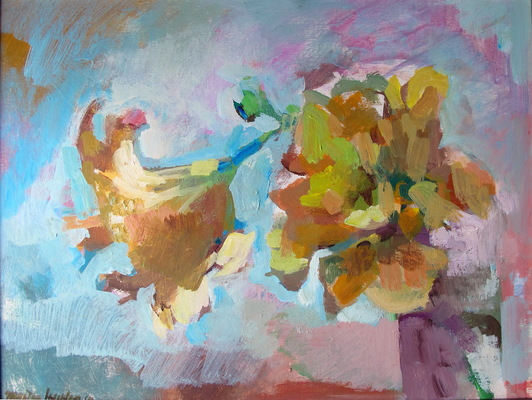 Mothers Day Flowers acrylic on wood