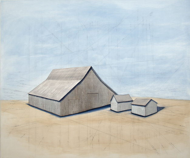 Rebecca Johnson  barns wood, plaster, pencil and paint on wood panel