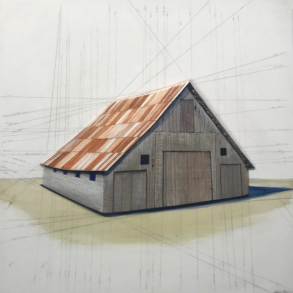 Rebecca Johnson  barns salvaged barn wood, acrylic paint, hydro-cal plaster on birch plywood panel