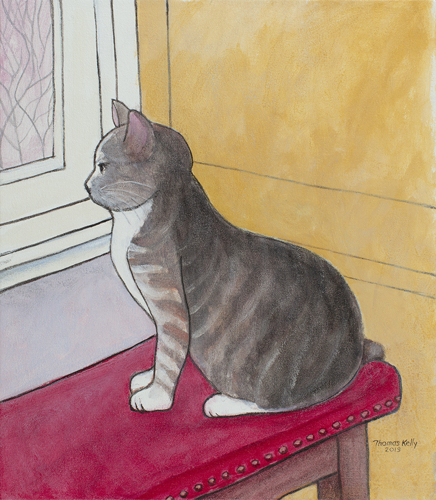 Available Paintings Cat on the Kitchen Stool